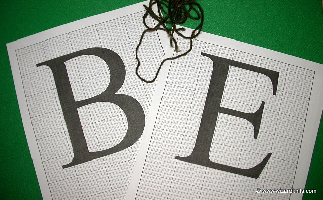 A duplicate stitching how to B and E Graphed Initials