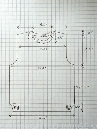 Crew Neck Sweater Pattern - Toddler 4 Front/Back Diagram