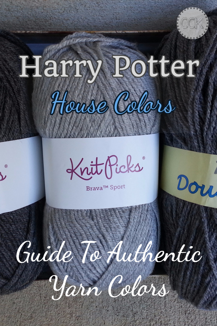 "Harry Potter House Colors - A guide to locating Harry Potter House colors in authentic colors. There are many differing opinions as to what constitutes ""authentic"" shades - pick yours! #harrypotterknitting #hobbieshouse"
