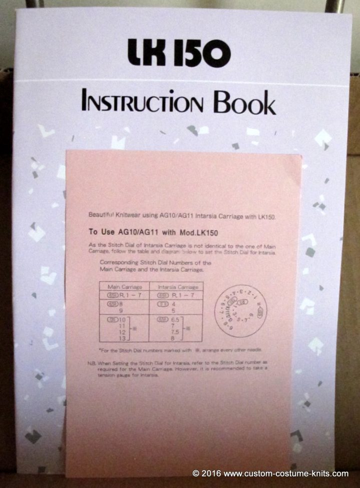 LK 150 knitting machine instruction book