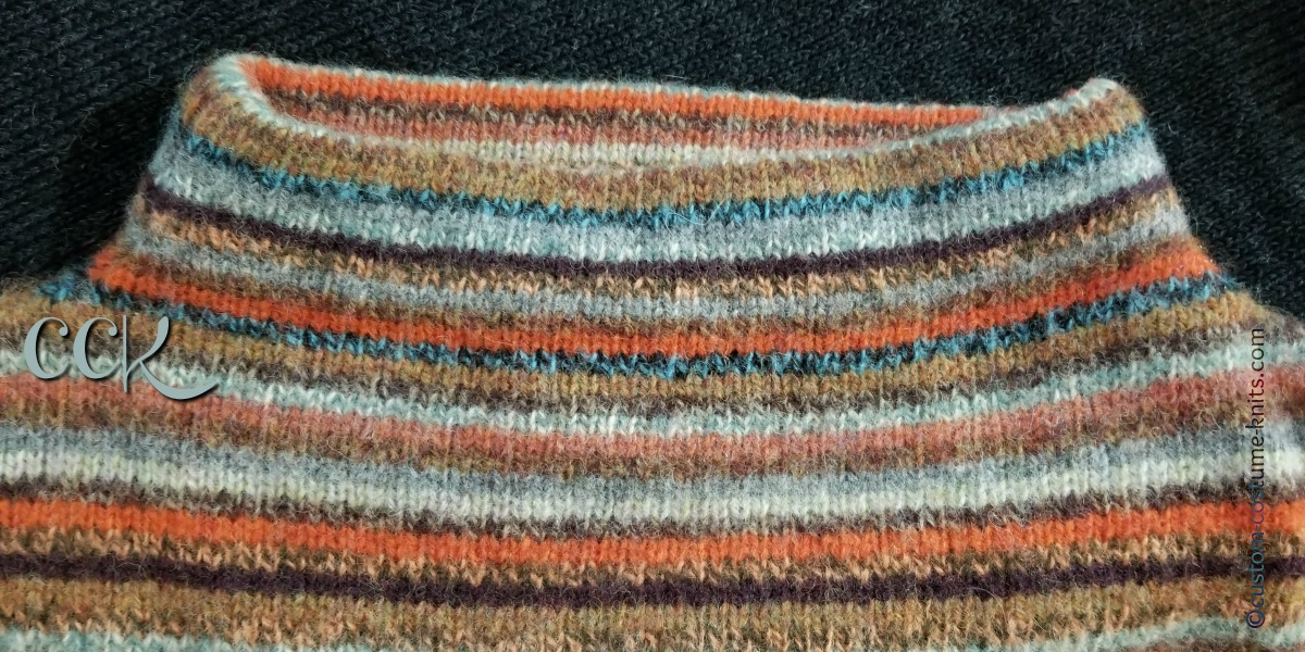 Sample sweater used in the Reverse Engineer Knitwear tutorial - multi color pin stripes pattern.